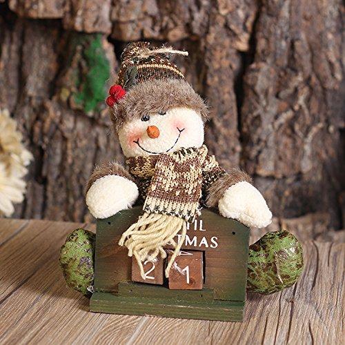 Weihnachten Dekoration Puppen, Moonmini ® 3D Holz Home Decor Weihnachten Countdown Weihnachtsschmuck - Snowman