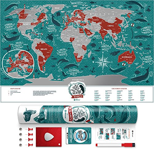 Premium Scratch Places Off Poster - 60 x 40 cm - Places I've Been Travel Map - Great World Map Gift For Any Traveler - Made From Durable Flexible Plastic to Last Longer by 1DEA.me