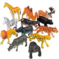 higadget Educational Toy Animals, Play Set for Kids, Different Zoo Wild Jungle Animal Toys, Animal Zoo - 12 Animals Set