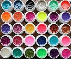 Kiss-Beauties Lot de 30 pots de vernis à ongle pailleté Gel UV spécial Nail Art 8 ml