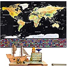 rabbitgoo Mapa para Rascar Mapa del Mundo para Rascar Mapamundi de Pared, con Países por el Mundo para Marcar Un Gran Regalo para Viajes 82x59CM (1 plectro)