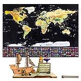 rabbitgoo Carte du Monde à Gratter avec Drapeaux Nationaux-Grattez Les Endroits Que Vous Avez Visité-Parfait Cadeau pour Voyageurs Amateurs Géographiques pour Salle/Bureau/Chambre Noir 82x59CM