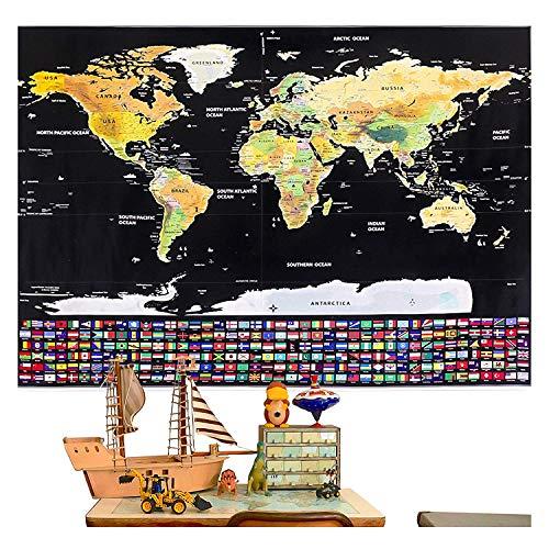 rabbitgoo Mappa del Mondo da Grattare XXL con Bandiere Nazionali Colorate Mappa da grattare Regalo Ideale per i Viaggiatori e gli Appassionati di Geografia 82x59 CM