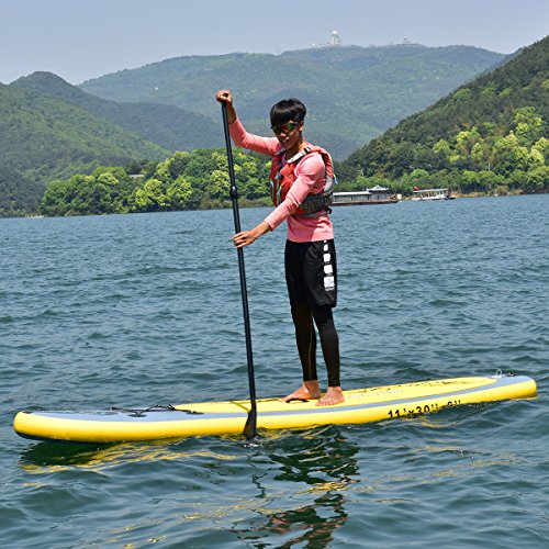 61oIK5vPafL. SS500  - COSTWAY 11FT SUP Inflatable Stand Up Paddle Board W/Carry Bag, Repair Kit, Tail Vane, Adjustable Paddle, Hand Pump with Pressure Gauge, Ideal Beginners Soft Surfing Board Kit (Yellow 335x76x15cm)