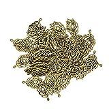 MagiDeal 50 Pièces Pendentif Charmes Plumes De Paon Pour Fabrication De Bijoux En Bronze