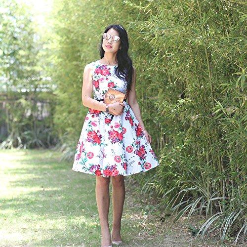 Vintage Kleid,SRANDER 50s Retro kleid Ärmellos Rockabilly Schwingen Cocktailkleider Prom Dress S8000 8010