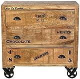 SIT-Möbel Rustic 1910-04 Kommode mit 3 Schubladen, aus Mangoholz, Antik, braun, Wortprints, 90 x 40 x 90 cm