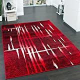 Designer Teppich Modern Trendiger Kurzflor Teppich in Rot Creme Meliert