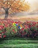 5x7ft Rote Blumen Gelber Baum Rasen Landschaft Fotografie Hintergrund Computer-gedruckt Vinyl Kulissen