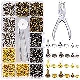EEIEER 360 Sets de 3 tailles de clous en cuir à rivets Rivet Tubular en métal avec 4 outils de fixation pour bricolage artisanat, 4 couleurs (or, argent et bronze, Gunmetal)