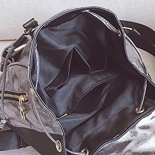 a5667652e9850 ... Rucksack Frauen PU Student Bag Freizeit Reisetasche Black ...