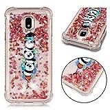 XINYIYI Coque pour Samsung Galaxy J3 2017 Drôle Liquide, Élégant Etui en Silicone TPU Doux Glitter Bling Liquid Paillette Back Cover Couverture Transparent Anti-Choc Housse - Trois Pandas