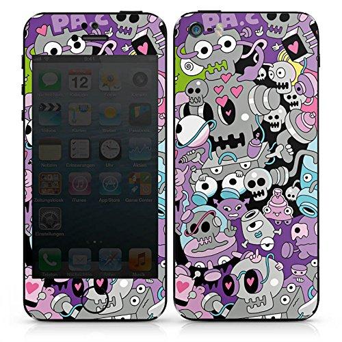 Apple iPhone SE Case Skin Sticker aus Vinyl-Folie Aufkleber Bunt Monster Grafik DesignSkins® glänzend