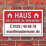 Schild Haus zu verkaufen Privat Wetterfest Alu-Verbund 3 mm 600 x 400 mm