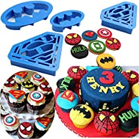 Tenflyer Batman and Superman Shaped Cookie Cutter Set - 4 Pieces,Blue