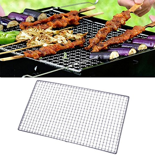 Fellibay BBQ Grill Drahtgeflech Metall Squares Löcher Grillen Barbecue Wire Mesh Grill Tools 40x25CM