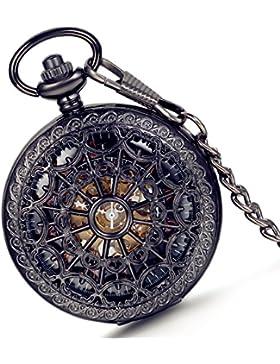 lancardo Retro Taschenuhr Herren Unisex Quarz Skelett Uhr mit Halskette Kette uhr Pocket Watch Weinachtsgeschenk...