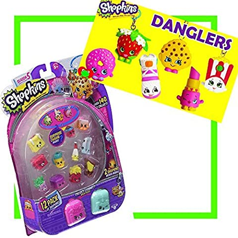 Shopkins season 5 12-Pack & Shopkins Danglers Combo Pack (styles may vary on both packs) Package Inlcudes 1 Shopkins 12-Pack & 1 Shopkins Dangler