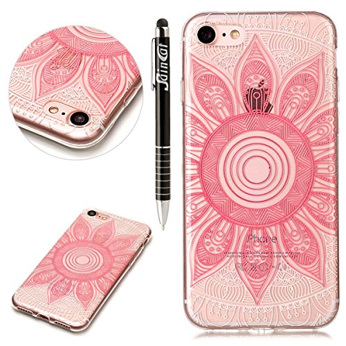 Custodia iPhone 7, iPhone 7 Cover Silicone Trasparente, SainCat Custodia in Morbida TPU Protettiva Cover per iPhone 7, 3D Creative Design Transparent Silicone Case Ultra Slim Sottile Morbida Transpare Rosa Rudra