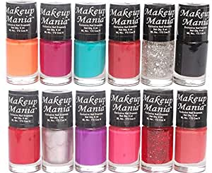 Makeup Mania Trendy Colors Nail Enamels - Combo Of 12 Pcs (Nail Paint Set # 86)