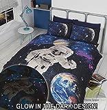 Out Of This World Space Astronaut Einzelbett Bettbezug und Kissenbezüge Bettwäsche-Set, Polycotton, Schwarz