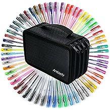 Ambielly Penne di gel-Pack di 60 Con Ambielly 72 slot della penna sacchetto / cassa, per adulti Libri da colorare Disegno (60 Gel Penne + 72 slot sacchetto della penna nera)