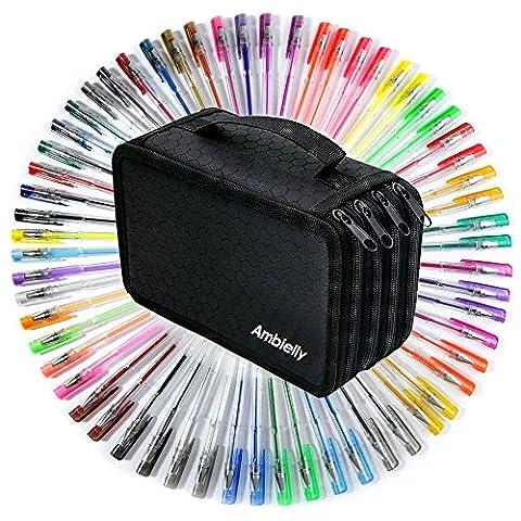 Ambielly Gel Stylos-Pack de 60 Avec Ambielly 72 emplacements Pen Bag / Case, pour adultes Coloriage Dessin (60 Gel Stylos + 72 Slots Noir Sac