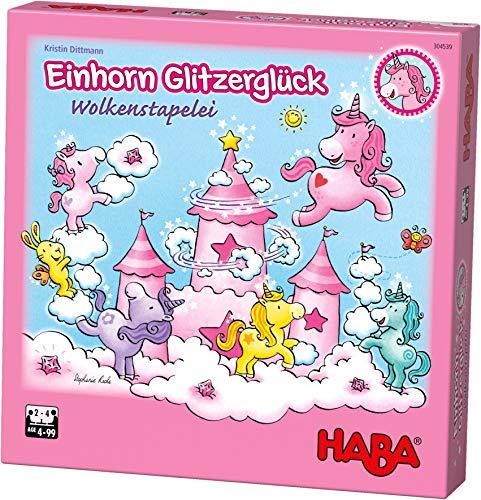 HABA 304539 - Einhorn Glitzerglück - Wolkenstapelei, kooperatives Stapelspiel mit Einhörnern und...