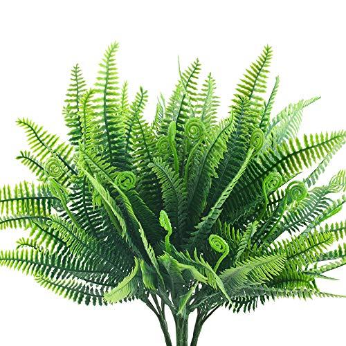 HUAESIN 4pcs Kunstpflanze Farn Künstliche Pflanze Draußen Plastikpflanzen Wetterfest Persischer Farn Grünpflanze Künstliche Balkonpflanzen für Balkon Topf Garten Innen Freien Deko