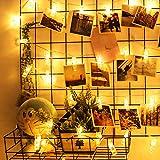 Diolumia-Guirlande lumineuse LED à piles 20 photos clips - 2m - blanc chaud- Décoration intérieur pour noël nouvel an anniversaire mariage fête etc