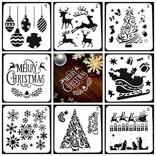Ai-life 8 Stück Grafiken Schablonen Plastik Zeichnung Malerei Schablonen Skala Vorlage Sets, Kunst-Werkzeug-Set für Kinder Lernen Reisen Geschenk Weihnachten Schablonen, 13x13cm