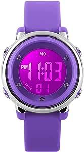 Orologio sportivo digitale per bambini – Orologio per ragazze waterproof fino a 5 ATM con cronometro, orologio da polso con 7 luci LED per bambini di RSVOM