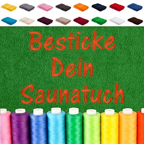 Besticken Sie Handtuch mit Namen oder mit Wunschtext bestickt, Farbe:Grün; Größe:Badetuch 100x150 cm