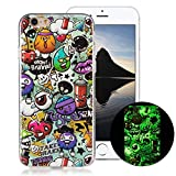 OnlyCase Cover iPhone 6 / iPhone 6S, Premium Elegante Effetto Luminoso TPU Morbida Silicone Gel Elegante Custodia con,Nottilucente Verde Glow in The Dark Custodia Antiurto, Graffiti