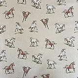 Vintage Tiere Pferde Baumwolle Rich Leinen Look Stoff für Vorhänge Jalousien Craft Quilting Patchwork & Upholstery 139,7cm 140cm breit, Meterware,