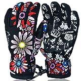 Tofern Unisex Handschuhe Ski Skihandschuhe Winterhandschuhe HIPORA für Snowboarden Skifahren kratzfest wasserdicht modisch S/M/L, Blumen M