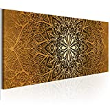 decomonkey Bilder Mandala 150x50 cm 1 Teilig Leinwandbilder Bild auf Leinwand Vlies Wandbild Kunstdruck Wanddeko Wand Wohnzimmer Wanddekoration Deko Orient Abstrakt Zen Gold