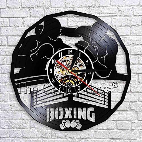 GZGJ 1 Stück Boxen Wanduhr Vinyl Uhren Faustkampf Boxen Main Event 3D Wanduhren Moderne Wandkunst Dekor Für Boxing Club