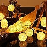 ELINKUME LED Bolas de algodón luces de hadas, 20 LEDs 3,3M/10,8 pies, Operado con pilas, blanco cálido bola de algodón iluminación de humor para balcón, ventana, fiesta, boda, navidad