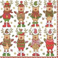 Caspari Servilleta de cóctel, diseño de renos de Navidad, multicolor