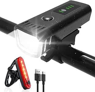 SHENMATE Luci Bicicletta LED,Luci Bici Ricaricabili, Batteria al Litio 2000 mAh e 400 Lumen 4 modalità di Illuminazione