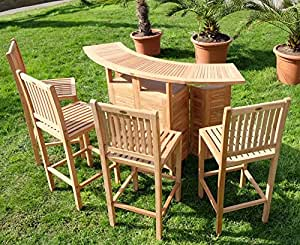 xxl bar set bartresen bartisch stehtisch gartentheke garten tresen mit 4x barhocker. Black Bedroom Furniture Sets. Home Design Ideas