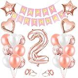 Palloncini 2 Anni Compleanno, Oro Rosa Palloncini 2, Buon Compleanno Banner, Palloncini 2 Anni Compleanno Ragazza,Happy Birth