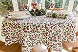 149,9cm Durchmesser Weihnachten weiß runde Tischdecke mit Rot Berry und Grün Holly Leaf Design (4-Sitzer)