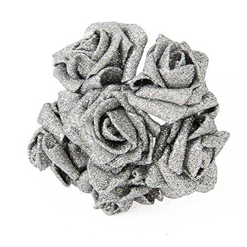 Blendx 6 x Künstliche Rose Kunstblume Glitzer Glanz PE Schaum Hochzeit Party Deko Silber