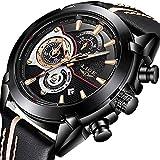 LIGE Herren Uhr Luxus Mode Wasserdicht Sport Analog Quarzuhr Mit Schwarz Lederband Armbanduhr