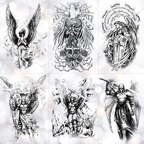 lihaohao Flügel Heiliger Engel Wasserdicht Temporäre Tätowierung Aufkleber Tapferer Ritter Krieger Flash Tattoos Körperkunst Arm Gefälschte Tätowierung 21X14.8 6St (Sie Stellen Ritter Kostüm)