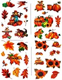Unbekannt 1 Bogen Fensterbilder -  Herbst  - incl. Name - Blätter / Sonnenblume / Kürbis / Vogelscheuche - Laubblätter - statisch haftend - selbstklebend + wiederverw..