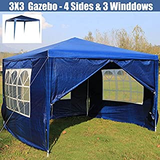 Autofather 3X3mWaterproof Outdoor Gazebo with 4 Removable Sides 3 Windows PE Garden Marquee Canopy Tent with Fitting Easy to Set Up, Blue