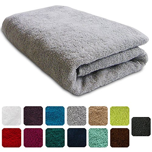 Lanudo® XXL Luxus Duschtuch 600g/m² Pure Line 70x140 mit Bordüre. 100% feinste Frottier Baumwolle in höchster Qualität, Dusch-Handtuch, Badetuch, Badelaken. Farbe: Silber (Frottier-badelaken)